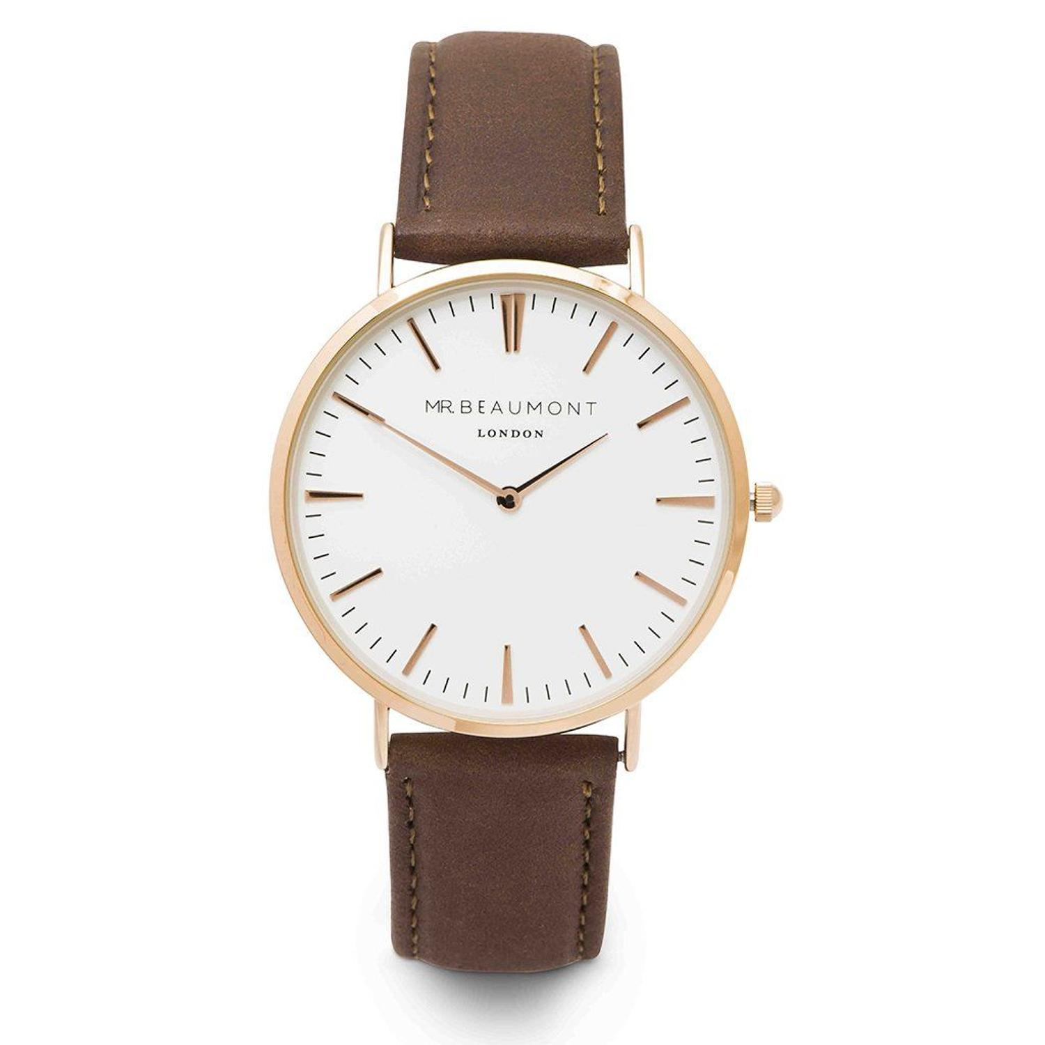 Mr Beaumont - Brown leather/rose gold face