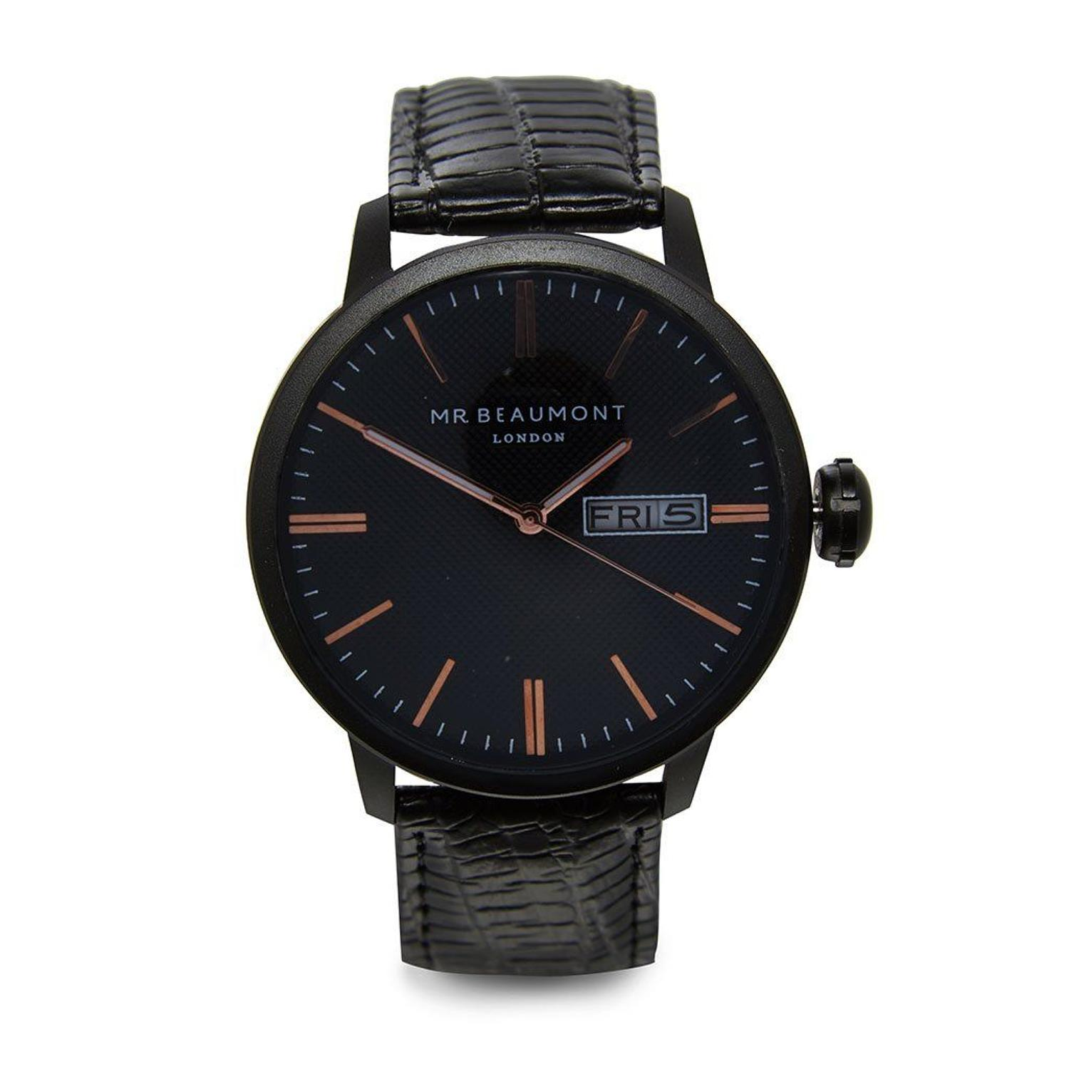 Mr Beaumont - Vintage - Matt case/black dial with rose gold markers -