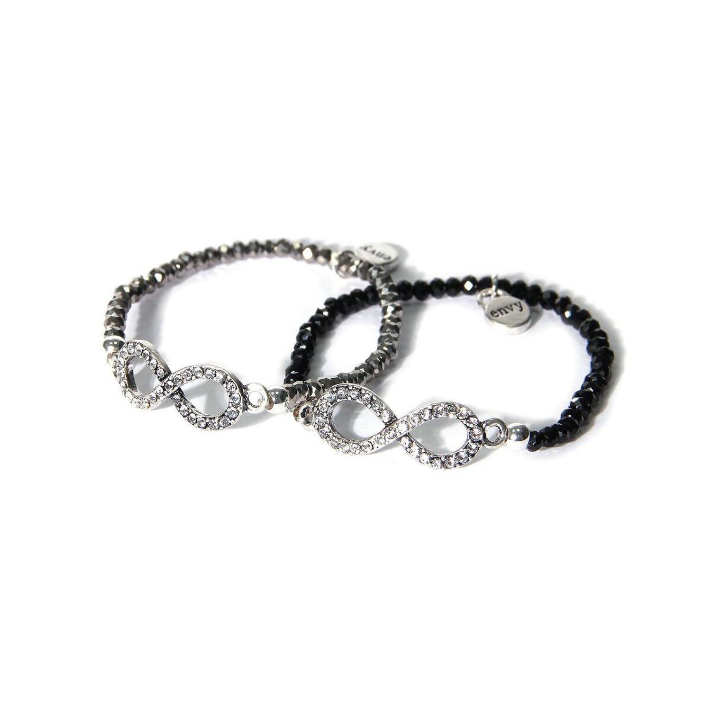 Envy - 2 X bead bracelets - I black & 1 silver