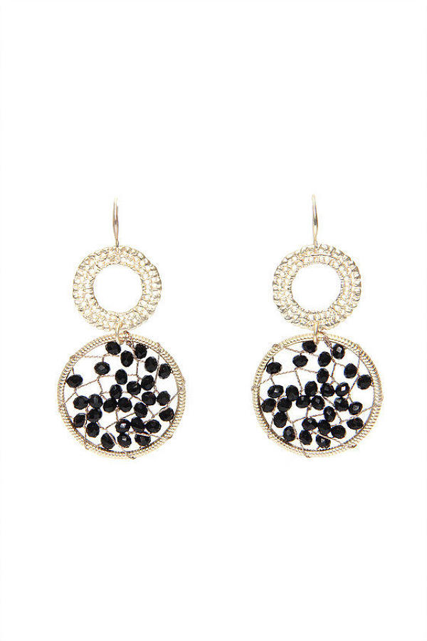 Envy - Gold double circular gem earrings