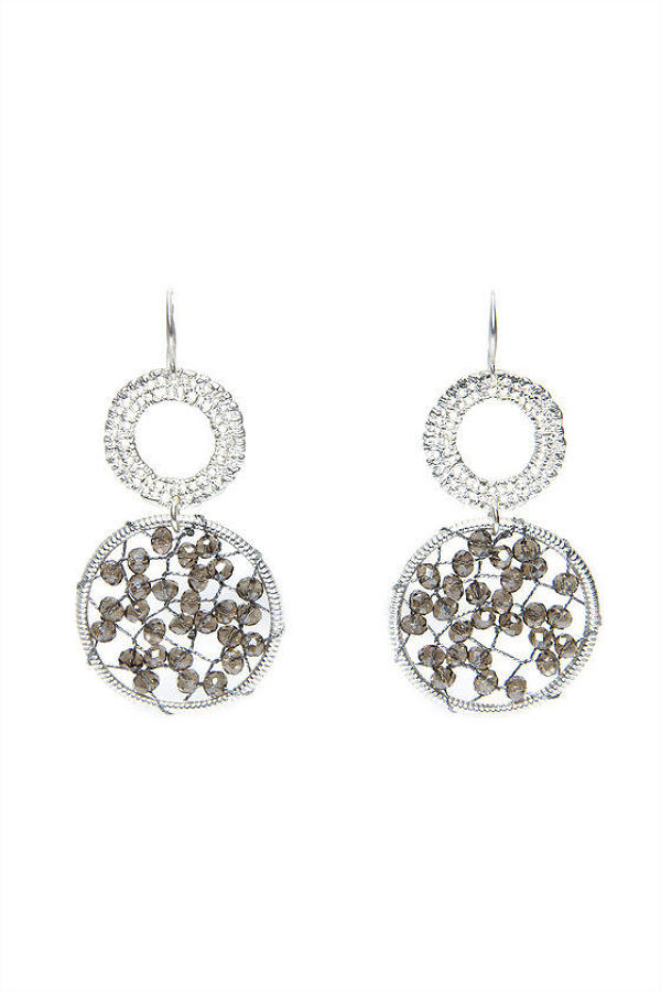 Envy - Silver double circular gem earrings