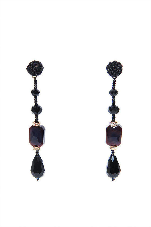 Envy - Black gem drop earrings