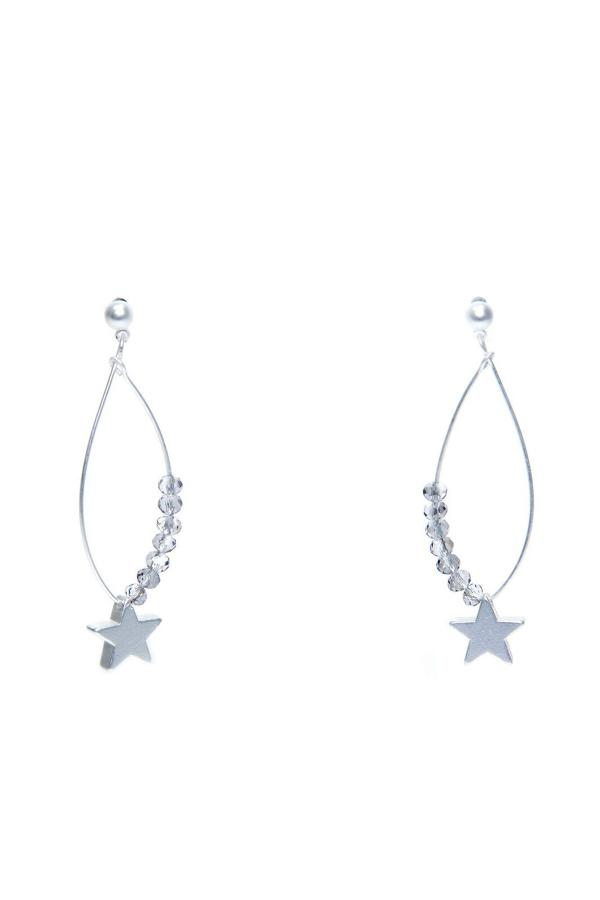 Envy - Silver Star and gems earrings