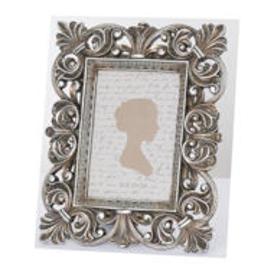Antiqued silver fleur de lis decorative frame - Small