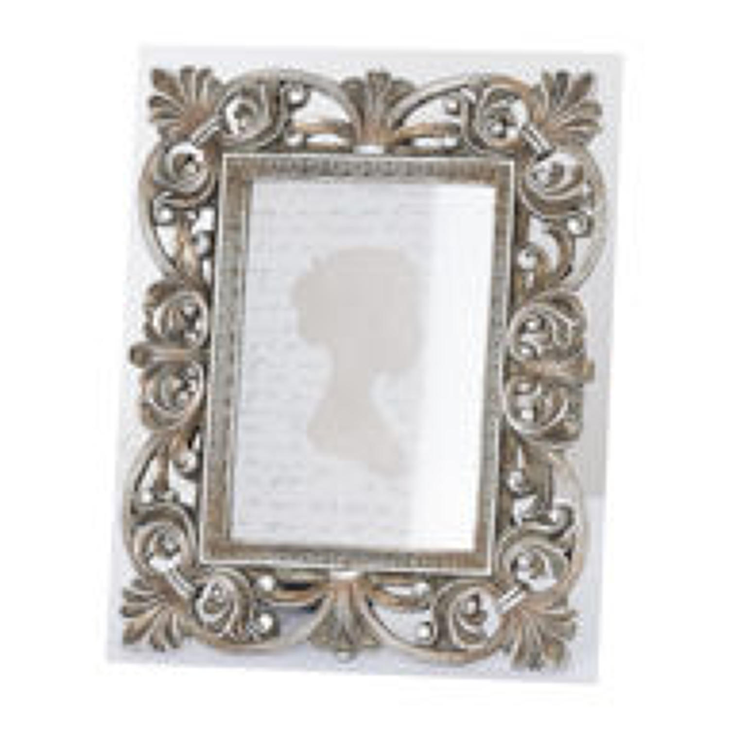 Antiqued silver fleur de lis decorative frame - 5 x7 Large