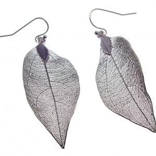 J & L - Filigree leaf drop earrings - Silver