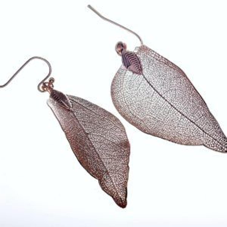 J & L - Filigree leaf drop earrings - Rose gold
