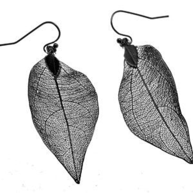 J & L - Filigree leaf drop earrings - Gunmetal