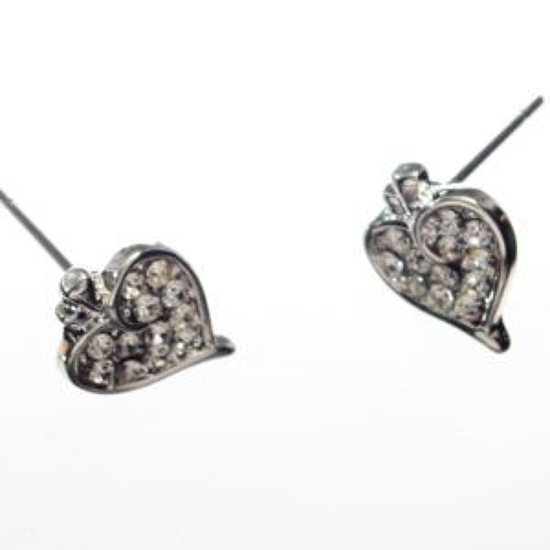 J & L - Diamante heart stud earrings
