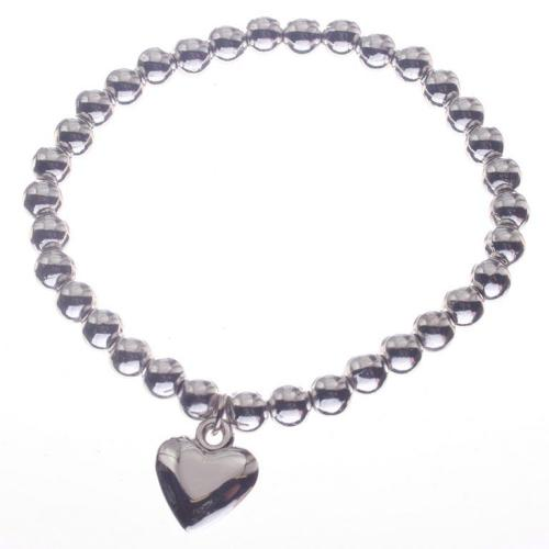 J & L - Pearl bracelet with silver plated drop heart