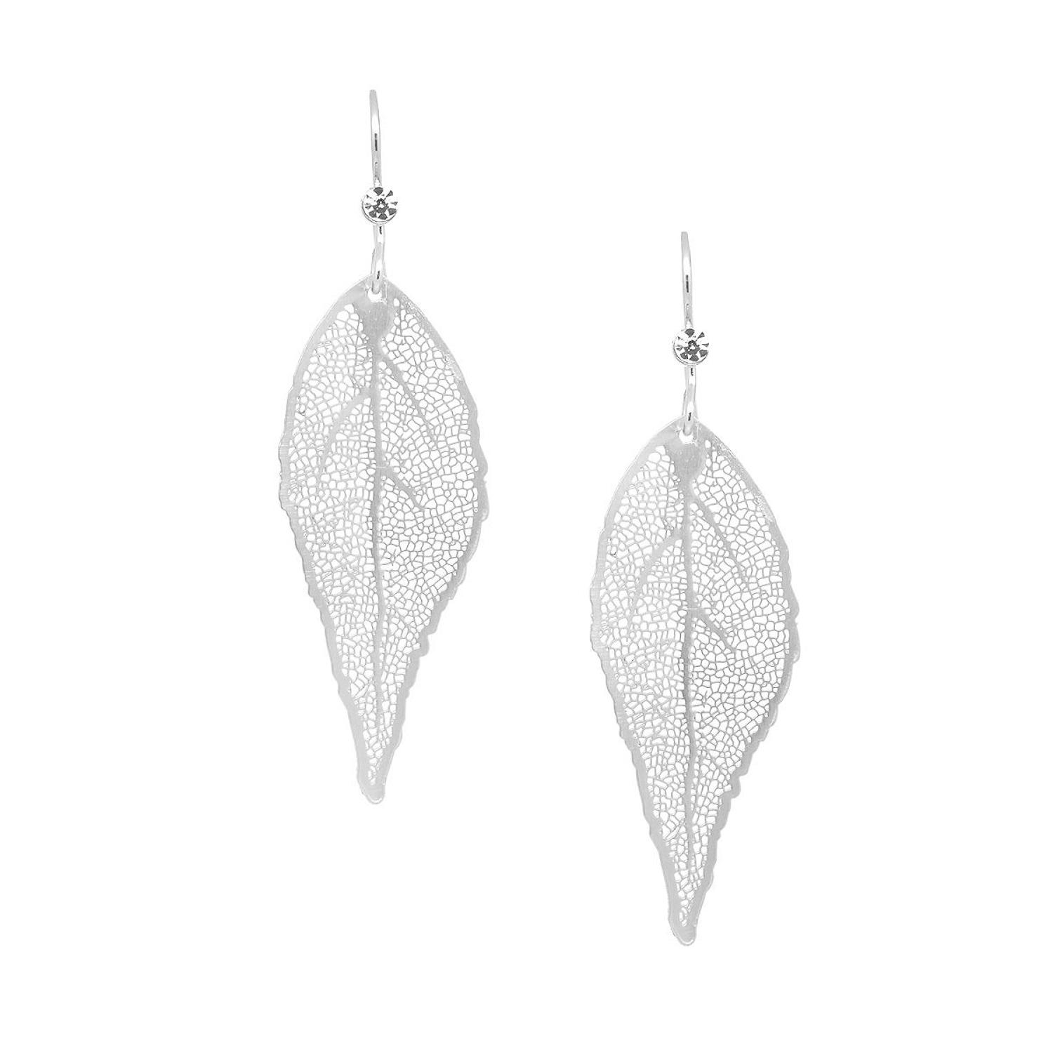 White Leaf - Silver leaf & crystal earrings
