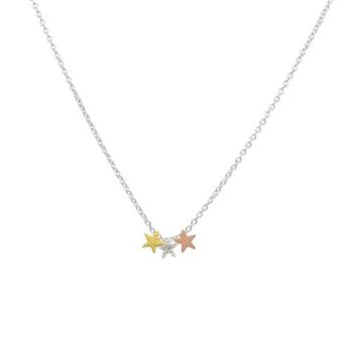 White Leaf - Triple star necklace silver chain