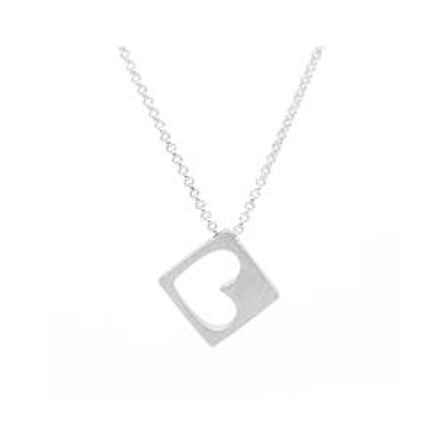 White Leaf - Heart in a box necklace brushed silver