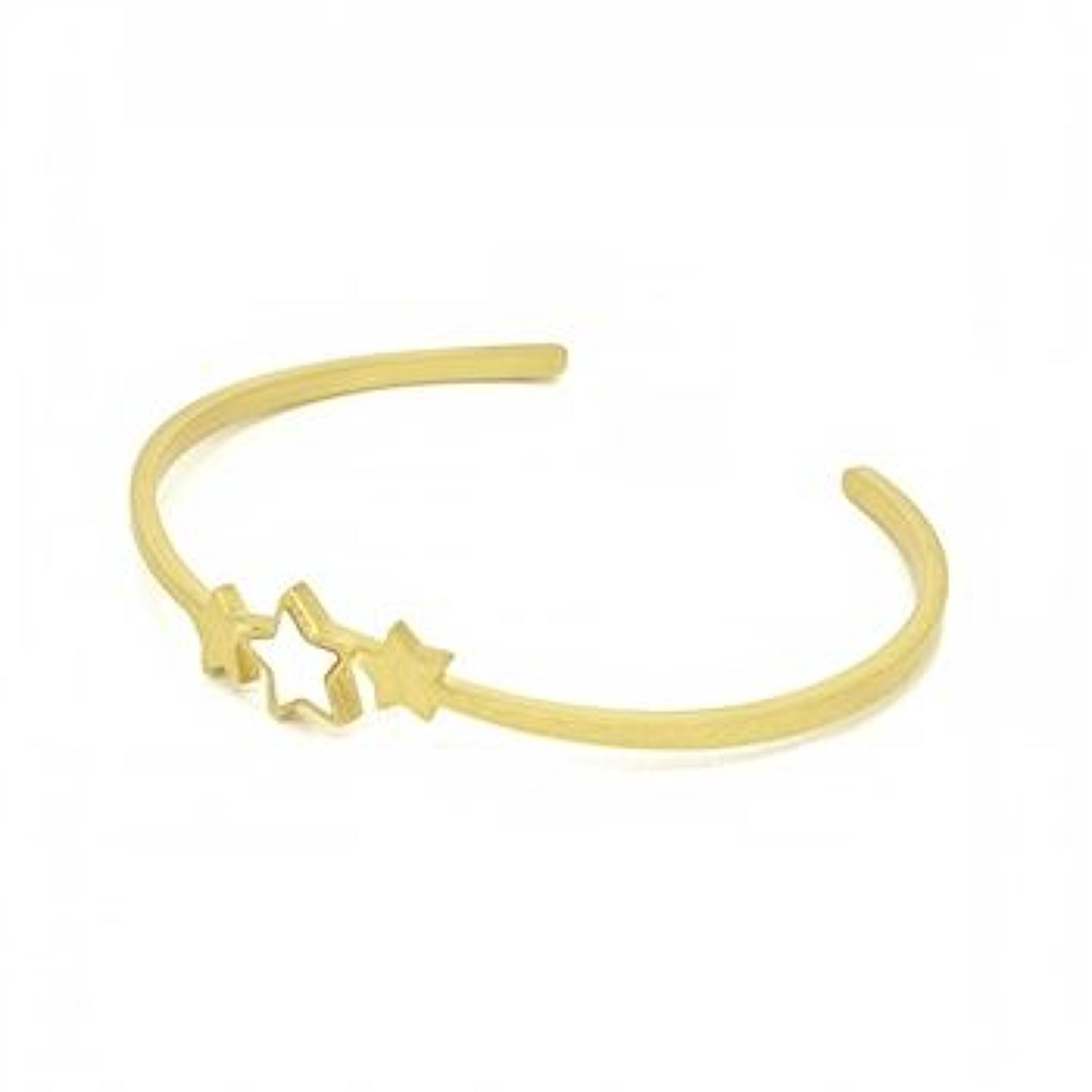 White Leaf - 3 Star mother of pearl brush gold bangle