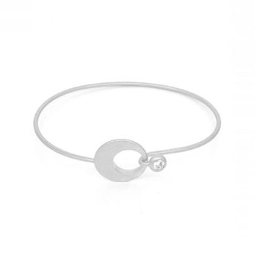 White Leaf - Hoop link bracelet crystal brush silver
