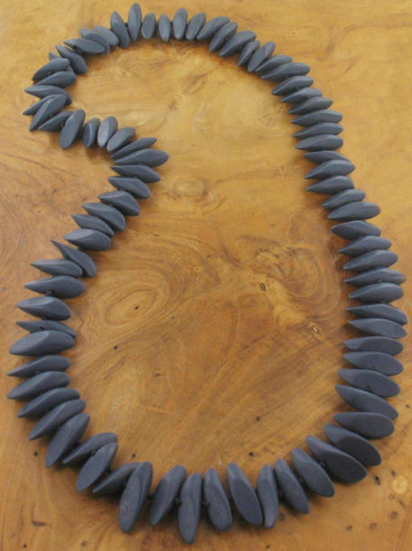 SB - Long resin slice necklace - Slate grey blue colour