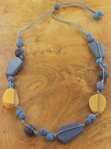 SB - Single strand mixed resin necklace-Mustard/Blue
