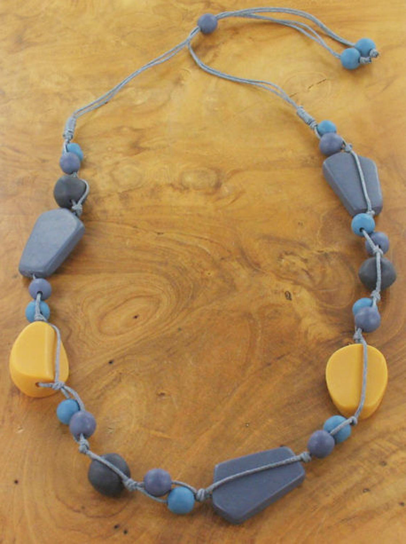 SB - Single strand mixed resin necklace-Mustard/Blue