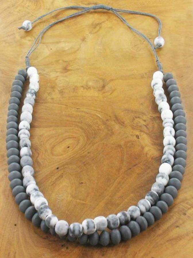 SB - Two strand grey marbled resin necklace