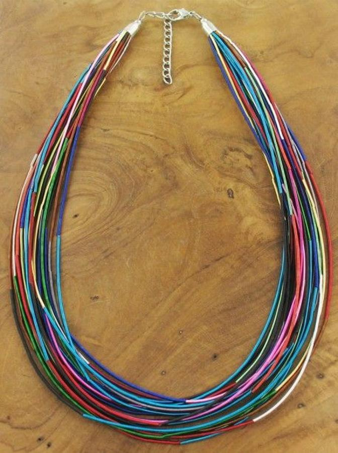 SB - Short multi strand multi colour necklace
