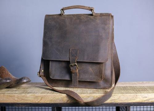 Nkuku - Masambe leather satchel - Rustic brown