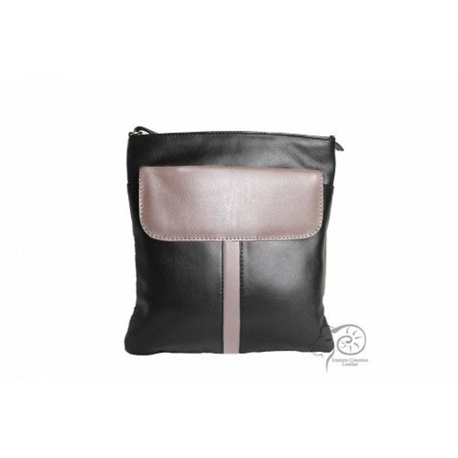 ECL - Mellisa leather handbag - Black/taupe