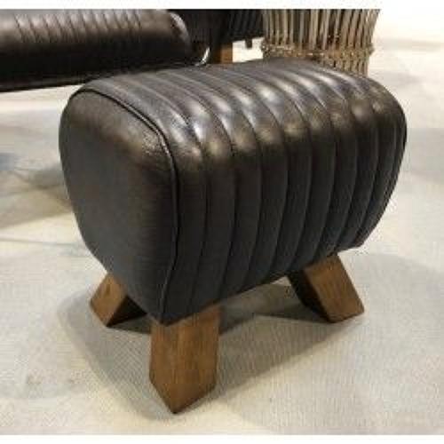 Black leather stool/ footstool/ sidestool - Pommel horse