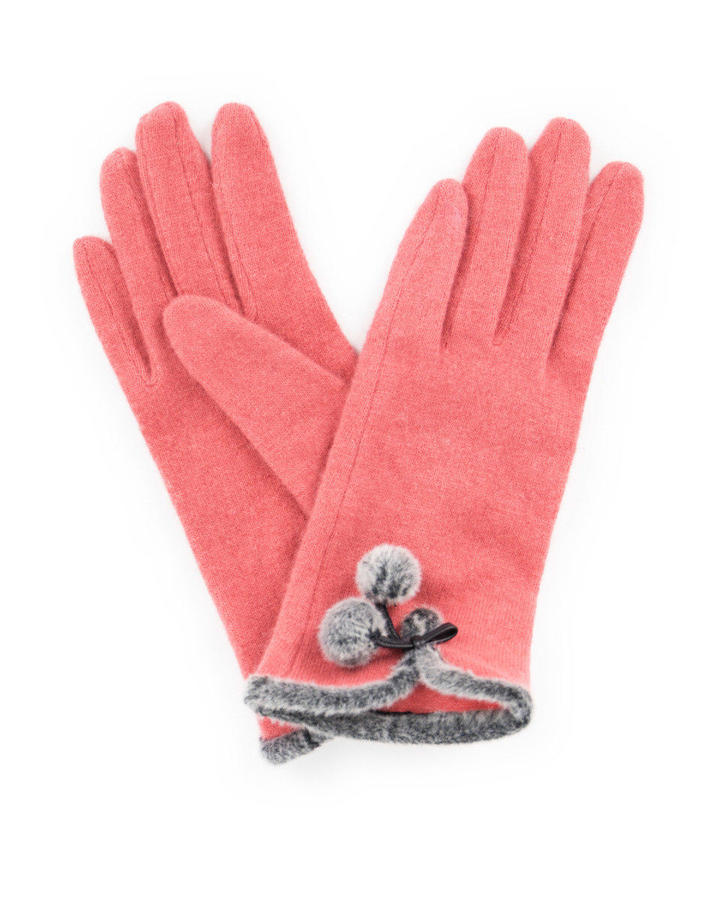 Powder - Betty wool gloves in Coral - One size