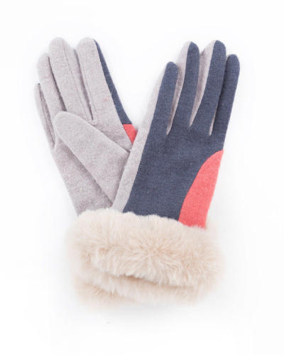 Powder - Alexandra wool gloves in Coral mix - One size