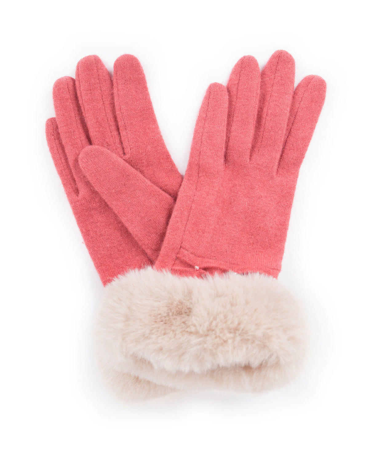 Powder - Tamara wool gloves in Coral - One size