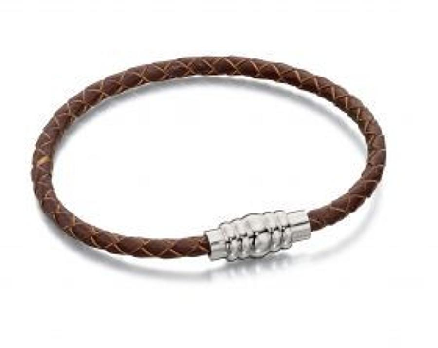 Fred Bennett - Stainless steel brown leather magnetic bracelet