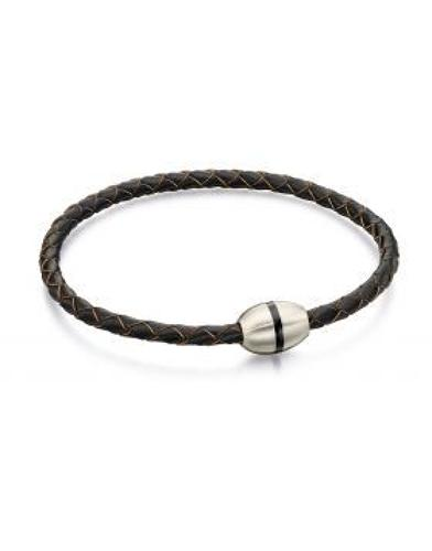 Fred Bennett - Stainless steel brown leather thin bracelet
