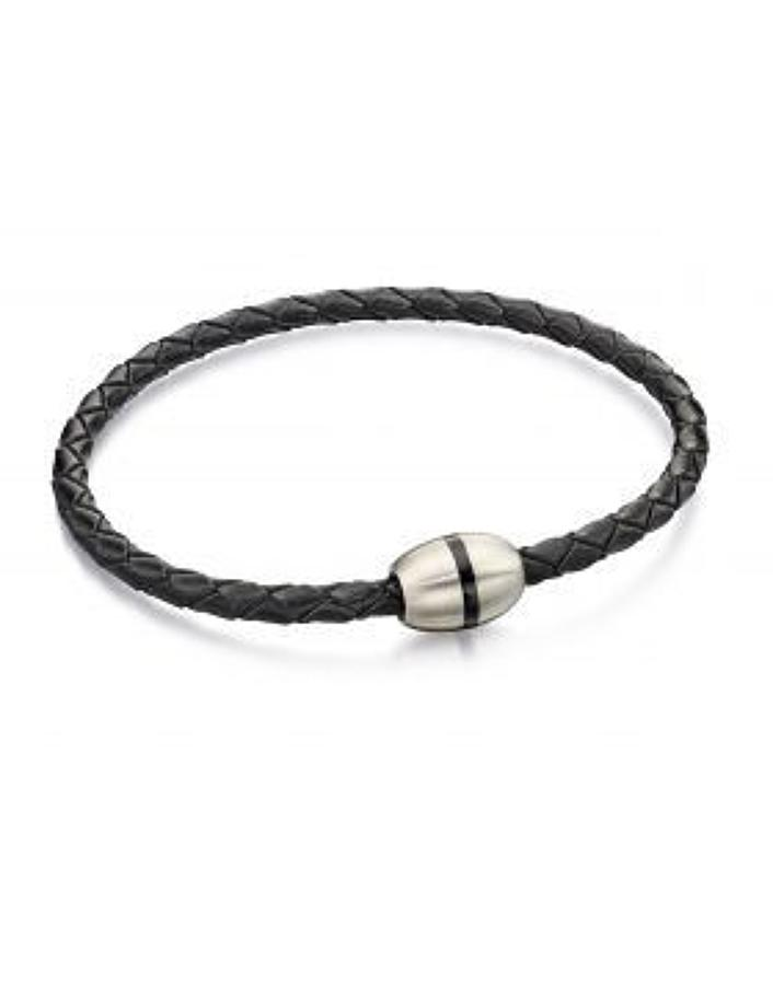 Fred Bennett - Stainless steel black leather thin bracelet