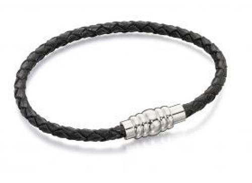 Fred Bennett - Stainless steel black leather magnetic bracelet