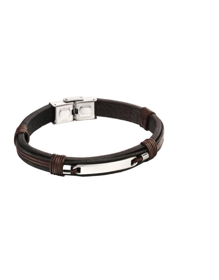 Fred Bennett - Stainless steel brown/black strand ID bracelet