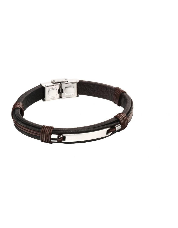 Fred Bennett - Stainless steel brown/black strand ID bracelet