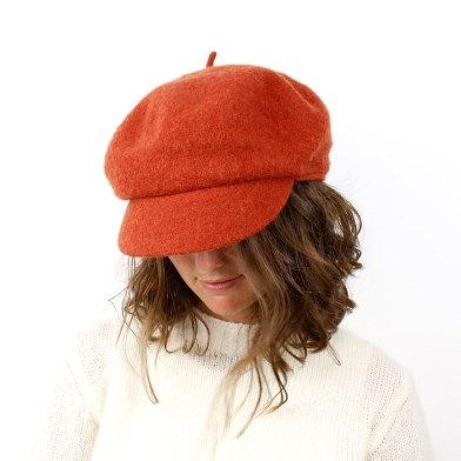 POM - Burnt orange wool Baker boy hat - One size