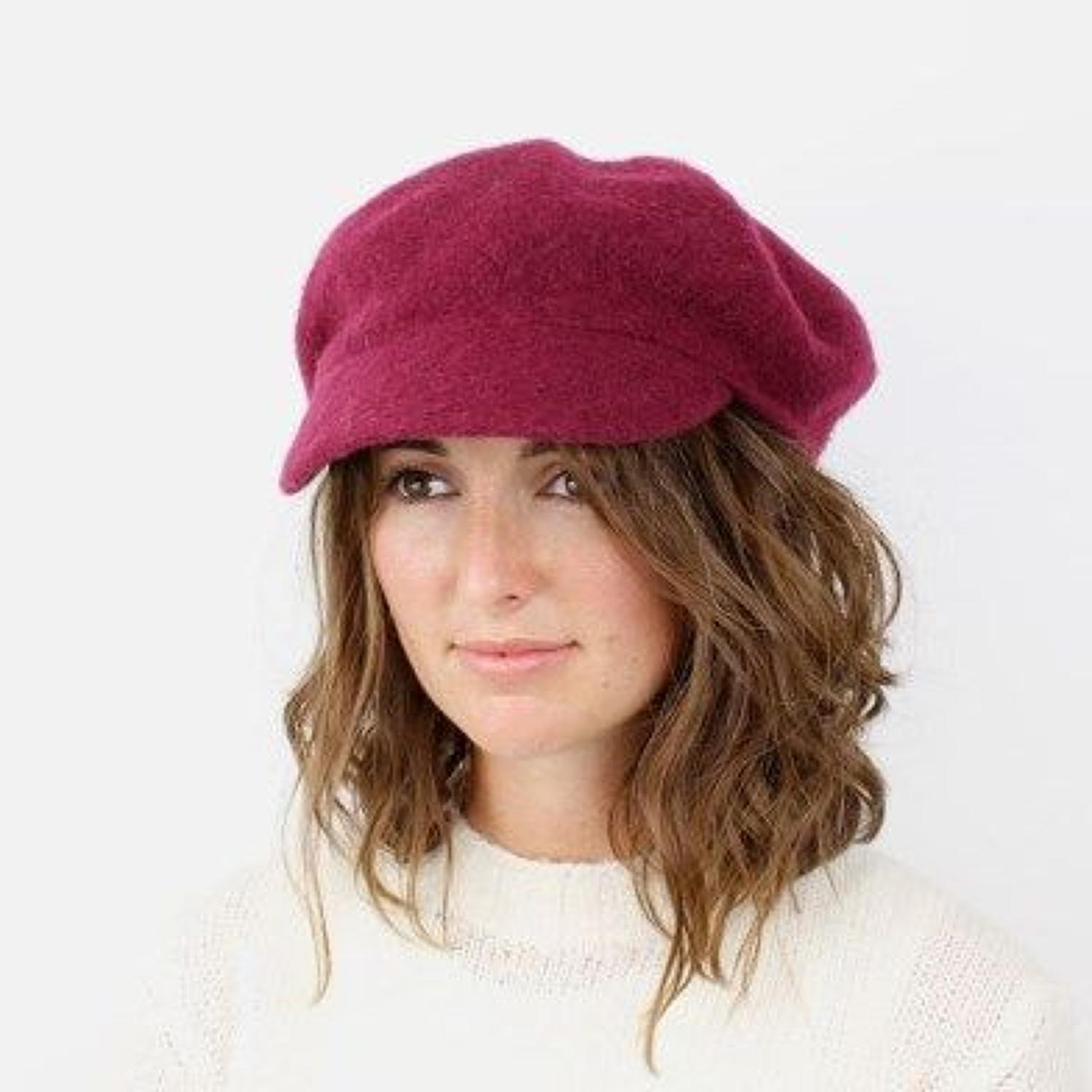 POM -Berry red wool Baker boy hat