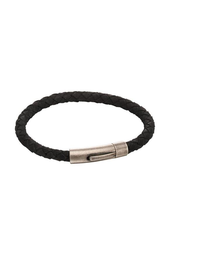 Fred Bennett - Stainless steel black suede silver clasp bracelet
