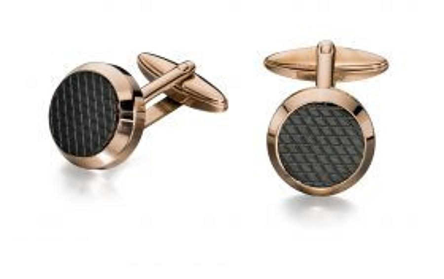 Fred Bennett - Stainless steel rose gold black PVD textured cufflinks