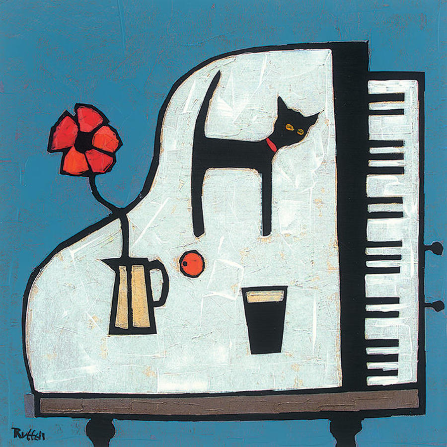 Colin Ruffell - Cat on piano - Canvas print