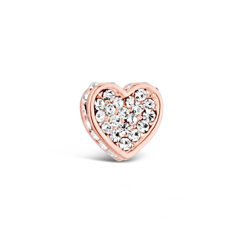 Rose gold plated heart crystal encrusted stud earrings