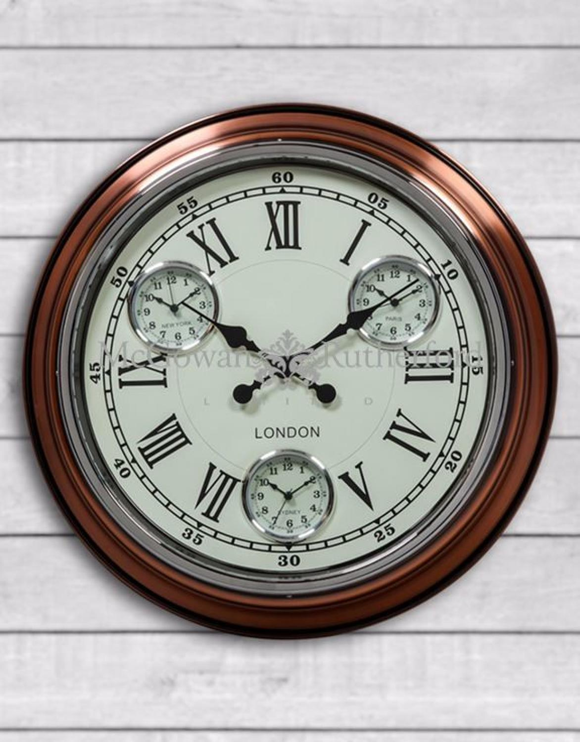 Vintage copper white face London multi dial wall clock