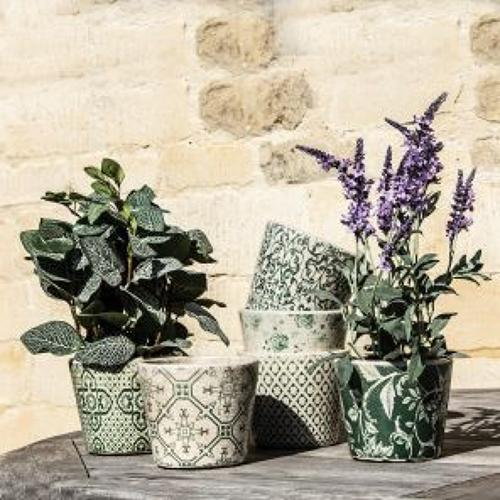 6 assorted designs- Old style Dutch green pots