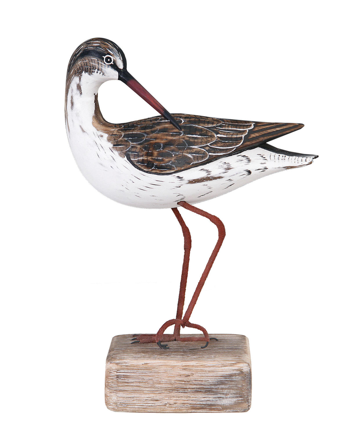 Redshank preening - Hand carved and painted