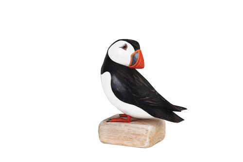 Puffin preening - Hand carved and painted