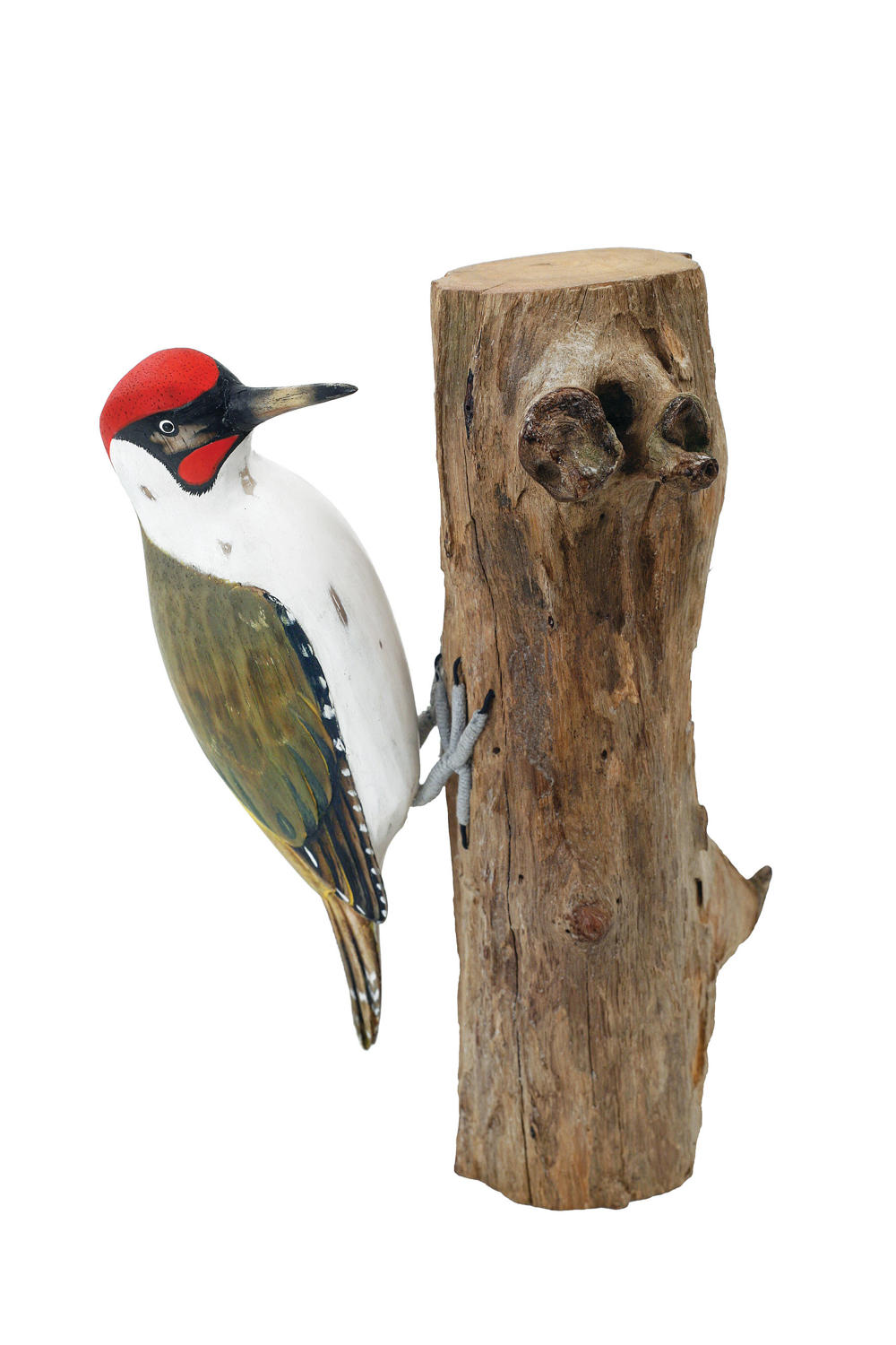 Green Woodpecker - Hand carved and painted