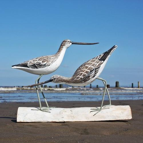 Greenshank birds block - Hand carved and painted
