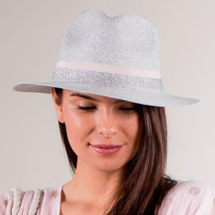 Light grey hat with lurex and pink band