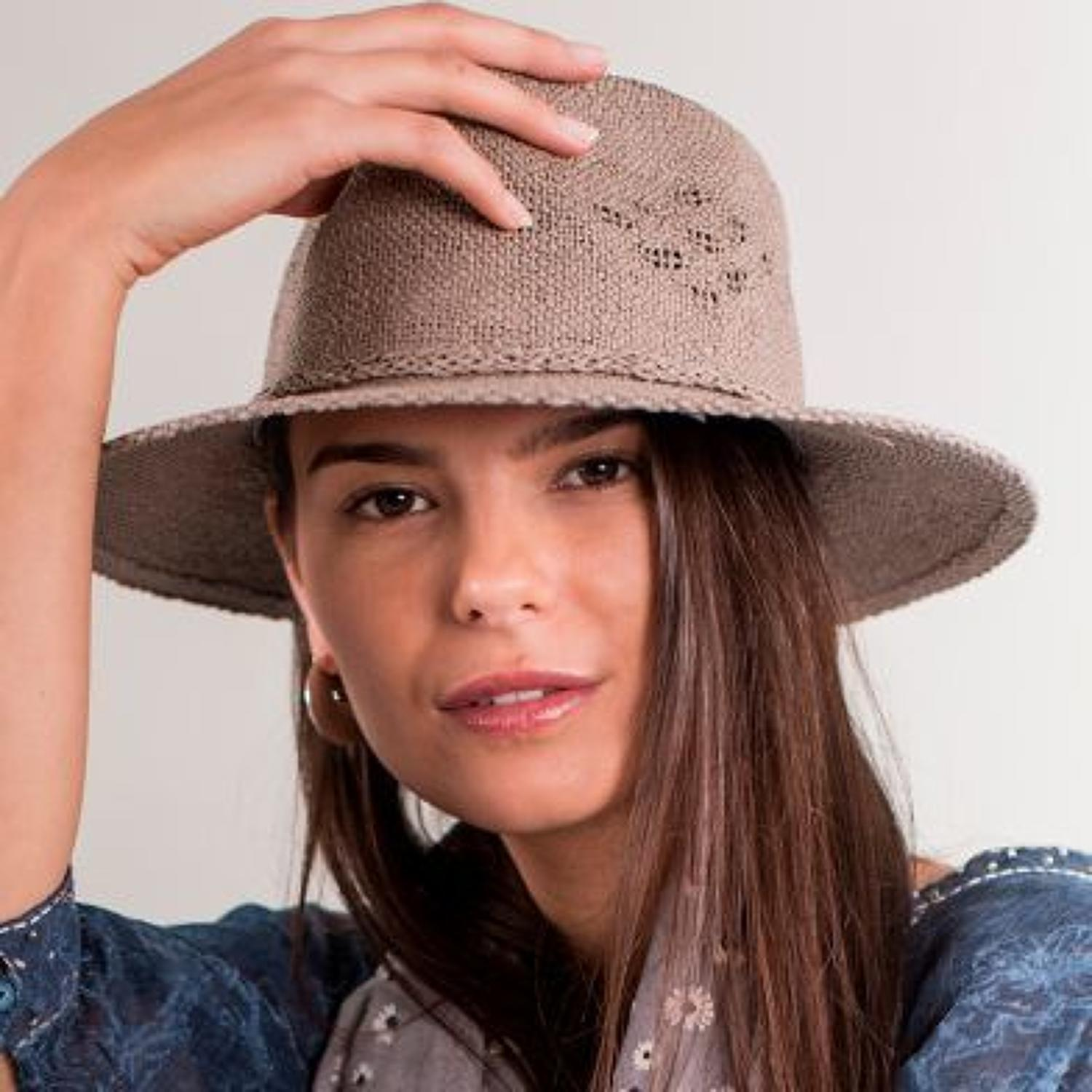 Taupe hat with woven detail
